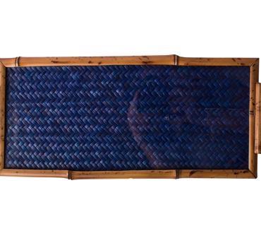 primedecor bandeja palha azul 17 x 37