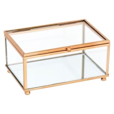 primedecor caixa decorativa vidro e metal dourado