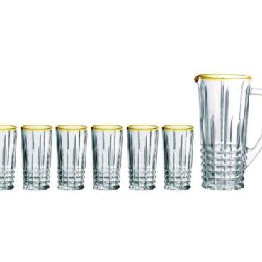 primedecor conjunto de jarra e copos transparente e borda dourada