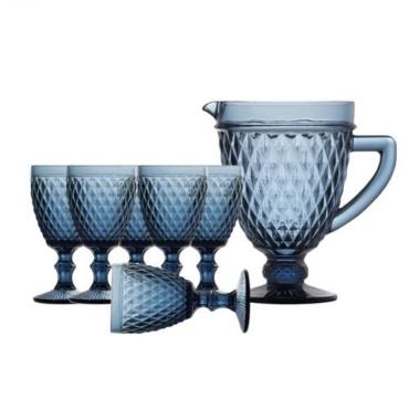 primedecor conjunto de jarra e tacas azul 3