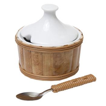 primedecor acucareiro em bambu natural e porcelana