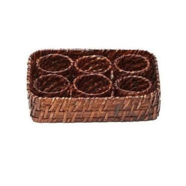 primedecor conjunto porta guardanapos rattan com 6 aneis e bandeja