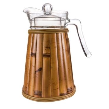 primedecor jarra em bambu com tampo 13 litros