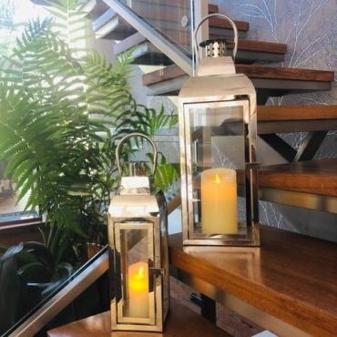 primedecor par de lanternas decorativas em inox
