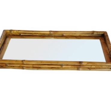 primedecor bandeja bambu espelho 55 x 30 cm