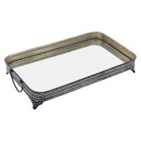 primedecor bandeja metal preto e branco 24 x 43 cm