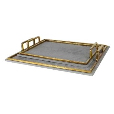 primedecor cj de bandejas de cimento com alca de metal dourado