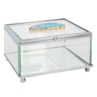 primedecor caixa decorativa em vidro com pedra agata azul 135 x 145 cm