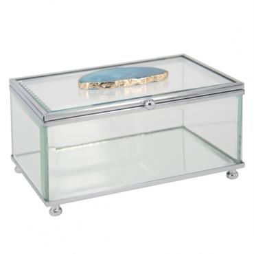 primedecor caixa decorativa em vidro com pedra agata azul 15 x 11 cm