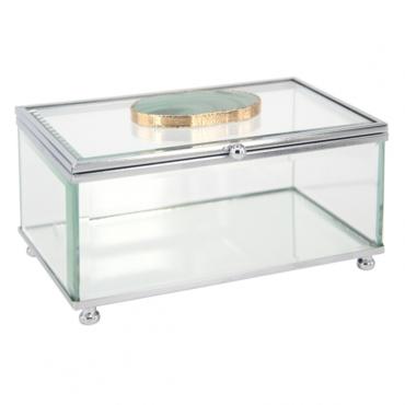 primedecor caixa decorativa em vidro com pedra agata verde 15 x 11 cm