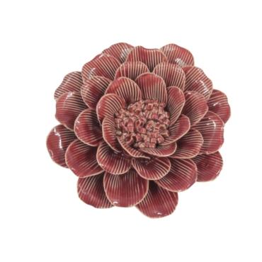 primedecor flor decorativa de mesa em ceramica vermelha 15 cm