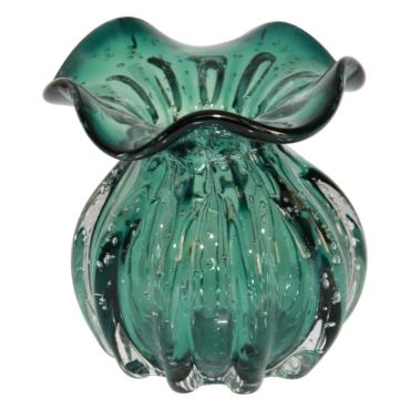 primedecor vaso estilo murano vidro verde 10 x 11cm