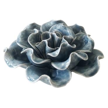 primedecor flor decorativa de mesa em ceramica azul 103 cm