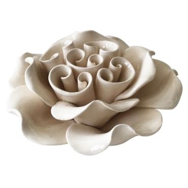 primedecor flor decorativa de mesa em ceramica branca 132 cm