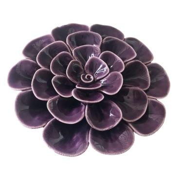 primedecor flor decorativa de mesa em ceramica roxa 96cm