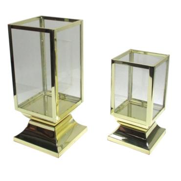primedecor par de lanternas decorativas em inox dourado